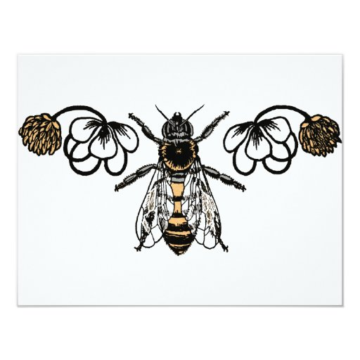 bee with clover custom invite