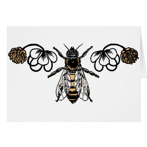 bee with clover greeting cards