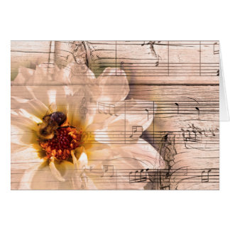 Bee with flower and musical notes collage.