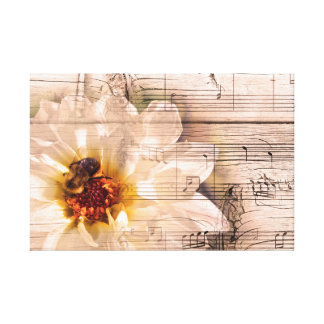 Bee with flower and musical notes collage. canvas print