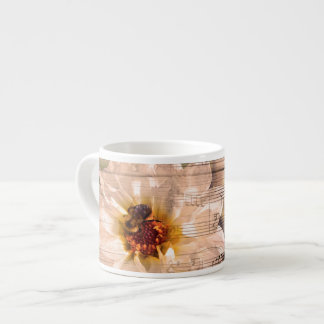 Bee with flower and musical notes collage. espresso cup
