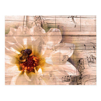 Bee with flower and musical notes collage. postcard