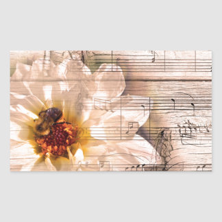 Bee with flower and musical notes collage. rectangular sticker