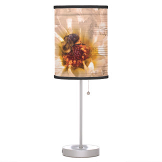 Bee with flower and musical notes collage. table lamp