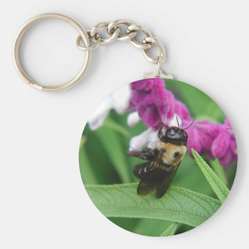 Bee with Velvet Flowers Keychain