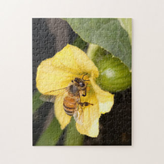 Bee Yellow Flower Jigsaw Puzzle