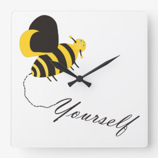 Bee Yourself Square Wall Clock