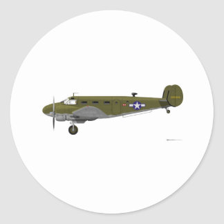 Beech C-45 Expeditor Army Air Corps Classic Round Sticker