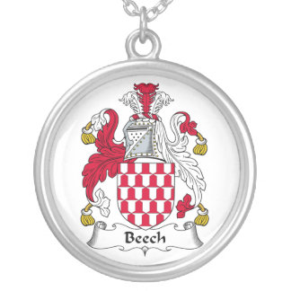 Beech Family Crest Round Pendant Necklace
