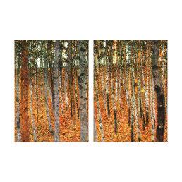 Beech Forest by Gustav Klimt Fine Art Double Panel Canvas Print