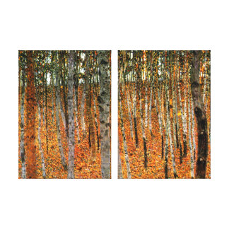Beech Forest by Gustav Klimt Fine Art Double Panel Canvas Print