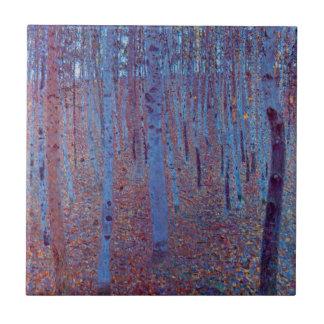 Beech Forest by Gustav Klimt, Vintage Art Nouveau Ceramic Tile