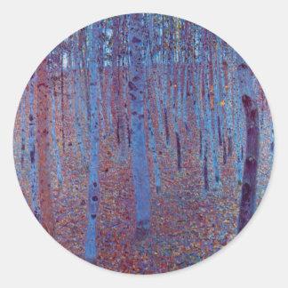 Beech Forest by Gustav Klimt, Vintage Art Nouveau Classic Round Sticker
