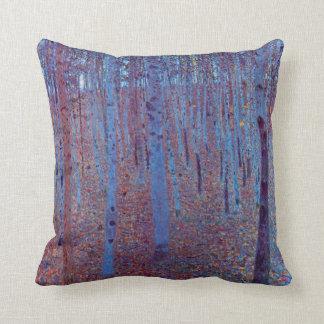 Beech Forest by Gustav Klimt, Vintage Art Nouveau Throw Pillows