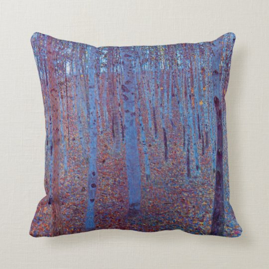 Beech Forest by Gustav Klimt, Vintage Art Nouveau Throw Pillow