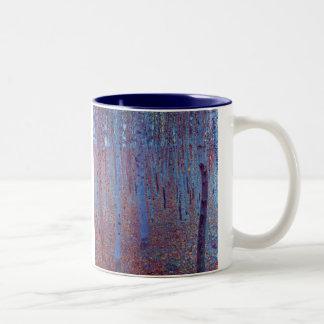 Beech Forest by Gustav Klimt, Vintage Art Nouveau Two-Tone Coffee Mug