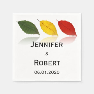 Beech Forest - Leaf Pattern in Green, Gold and Red Standard Cocktail Napkin