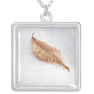 Beech Leaf In A Snow Drift Square Pendant Necklace