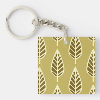 Beech leaf pattern - Camel tan and brown Square Acrylic Keychain