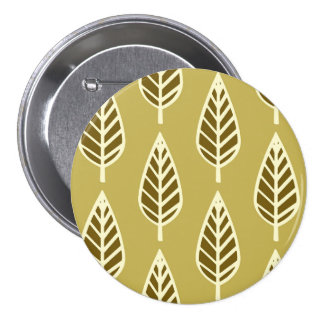 Beech leaf pattern - Camel tan and brown Pinback Button