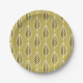 Beech leaf pattern - Camel tan and brown 7 Inch Paper Plate