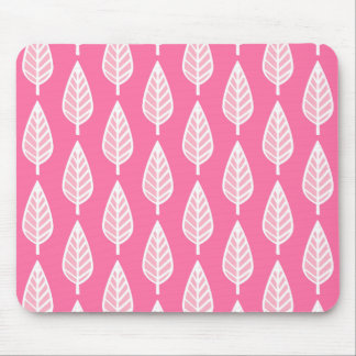 Beech leaf pattern - Florescent pink and white Mousepad