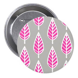 Beech leaf pattern - Fuchsia pink and silver Pinback Button