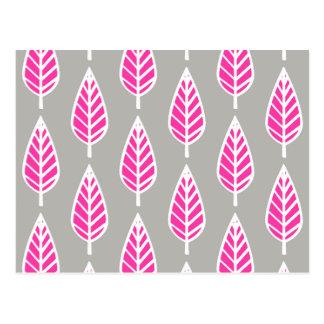 Beech leaf pattern - Fuchsia pink and silver Postcard