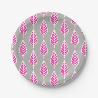 Beech leaf pattern - Fuchsia pink and silver 7 Inch Paper Plate