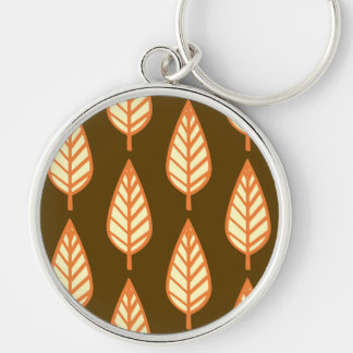 Beech leaf pattern - Orange and brown Silver-Colored Round Keychain