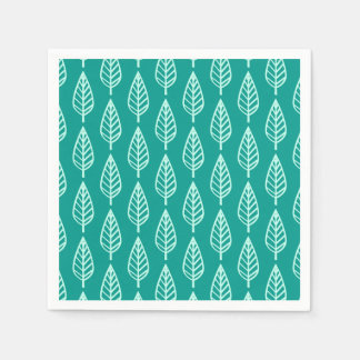 Beech leaf pattern - Peacock and aqua Paper Napkin