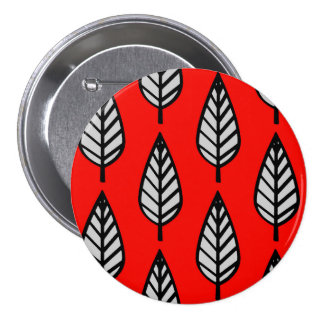 Beech leaf pattern - Red, black and grey / gray Button