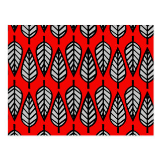 Beech leaf pattern - Red, black and grey / gray Postcard