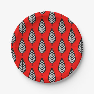 Beech leaf pattern - Red, black and grey / gray 7 Inch Paper Plate