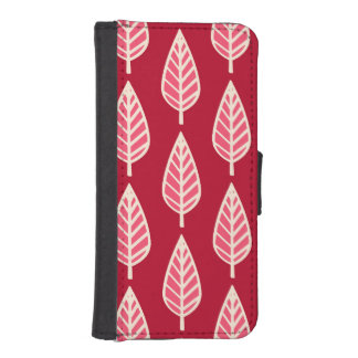 Beech leaf pattern - Ruby red and cream iPhone SE/5/5s Wallet
