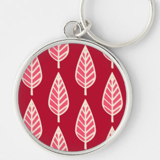 Beech leaf pattern - Ruby red and cream Key Chains