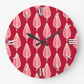 Beech leaf pattern - Ruby red and cream Large Clock