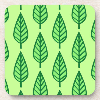 Beech leaf pattern - shades of green drink coaster