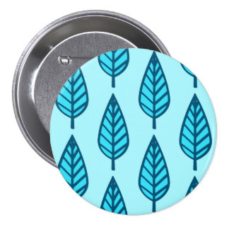 Beech leaf pattern - Shades of sky blue Pinback Button