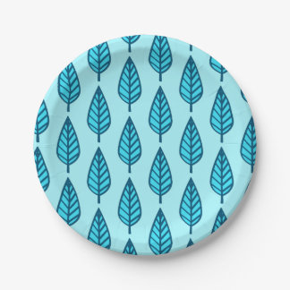 Beech leaf pattern - Shades of sky blue 7 Inch Paper Plate