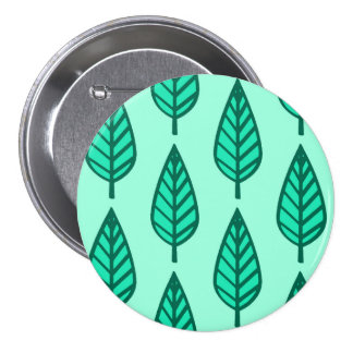 Beech leaf pattern - Turquoise and aqua Pinback Button