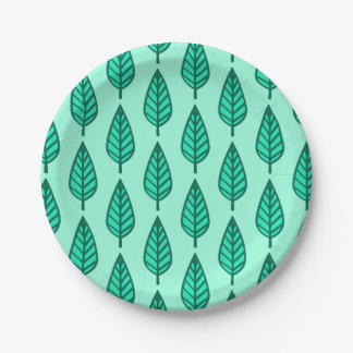Beech leaf pattern - Turquoise and aqua 7 Inch Paper Plate