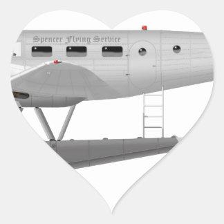 Beech Model 18 on Floats Heart Sticker