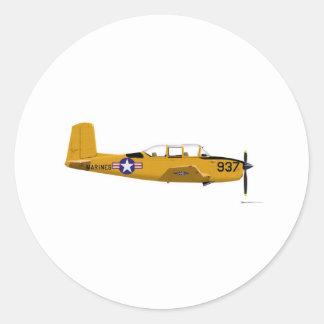 Beech T-34 Mentor Classic Round Sticker