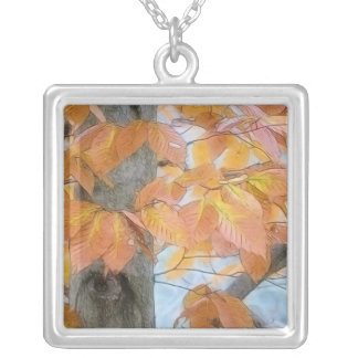 Beech Tree In The Winter Woods Square Pendant Necklace