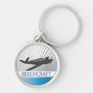 Beechcraft Aircraft Silver-Colored Round Keychain