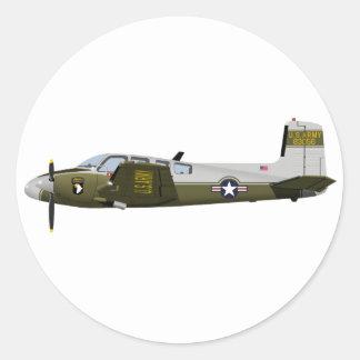 Beechcraft L-23 U-8 Seminole 456456 Classic Round Sticker