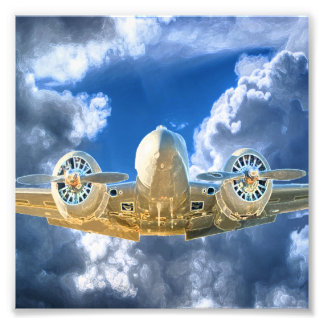 Beechcraft Model 18 Flying High Design Photo Print