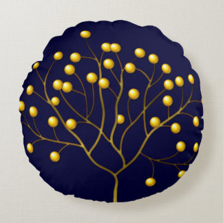 Beed Tree Pattern abstract craft digital illustr Round Pillow