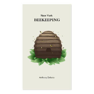 Beeehive & bees on green leafs brown Double-Sided standard business cards (Pack of 100)